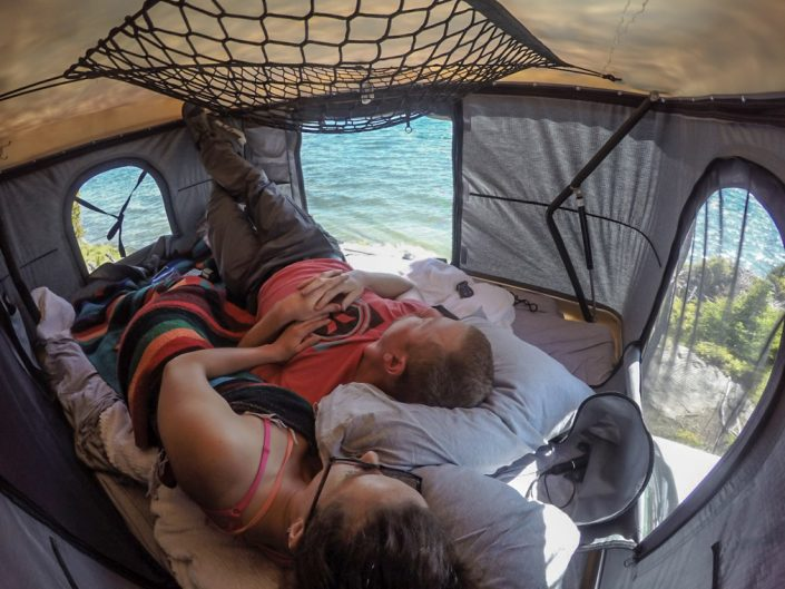 roofnest, rooftop tent, yellowstone lake, adventure, travel