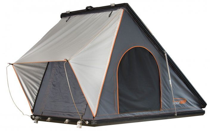 Roofnest Falcon Rooftop Tent, Hardshell Aluminum Open Roofnest Front View Closed Windows